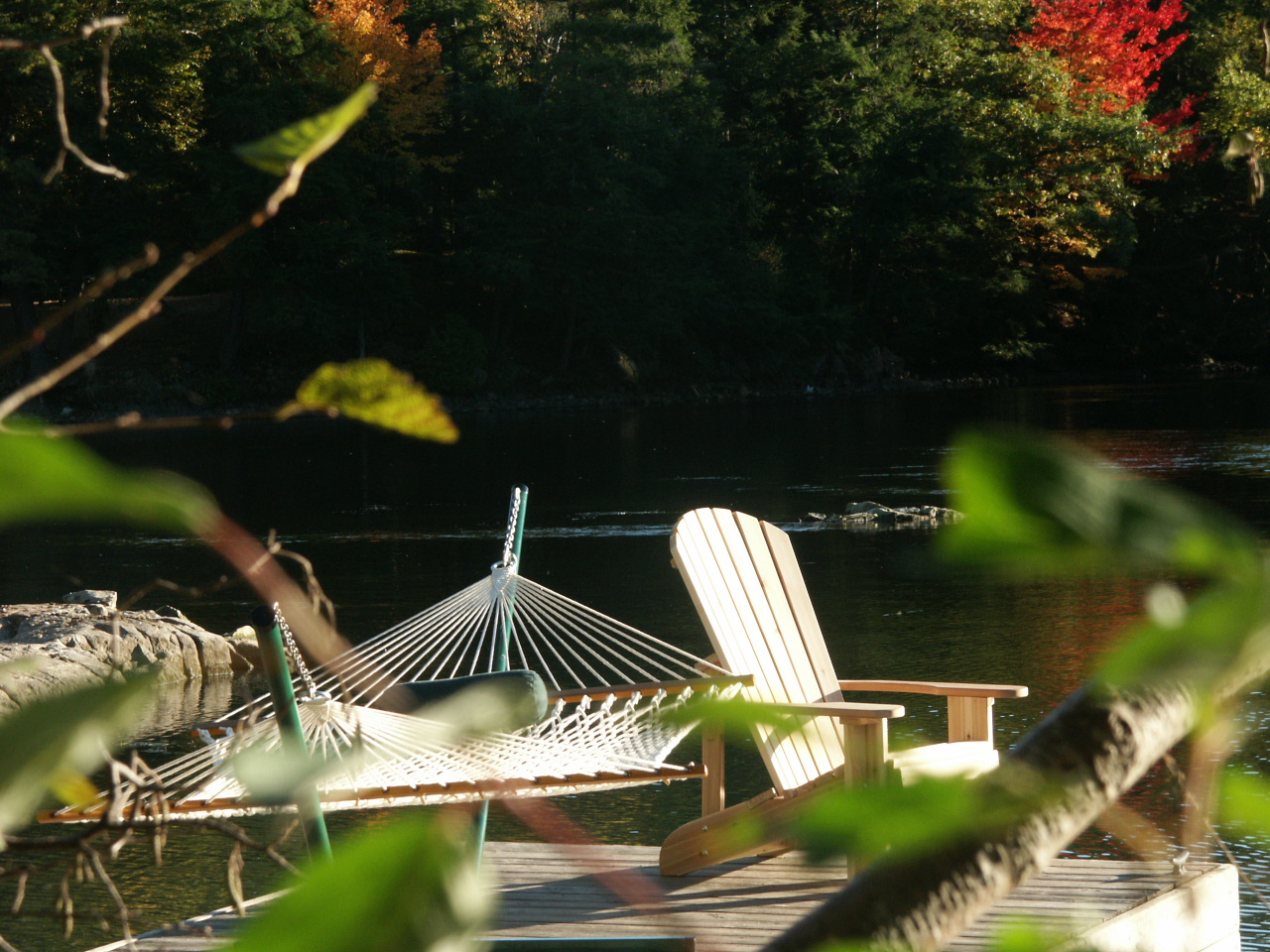 deluxe Bougainville hammock and comfy Muskoka chair on the dock