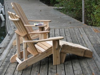 Muskoka Chairs with Side Table Foot Rest